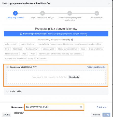 wgrywanie bazy klientow do facebooka
